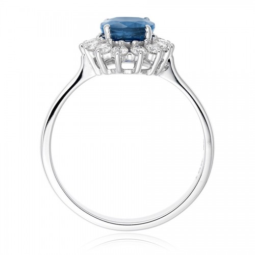 Image courtesy of www.Vashi.com. Diamond and Blue Sapphire Ring in 9k white gold