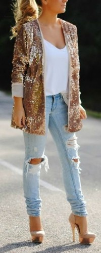 Image Source: Up the anti for evening with a sparkly blazer and stilettos.
