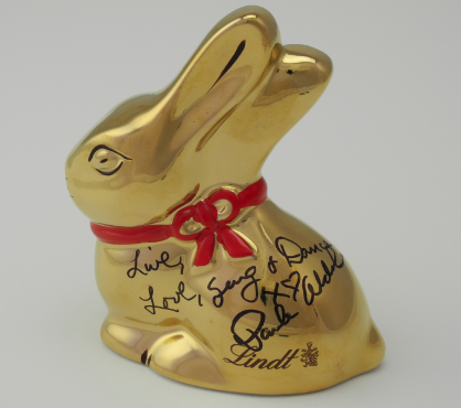 Lindt Gold Porcelain Bunny signed by Paula Abdul