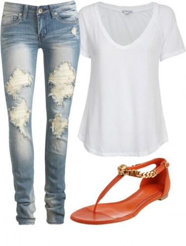 Image Source: White tee teamed with distressed jeans and bright sandals