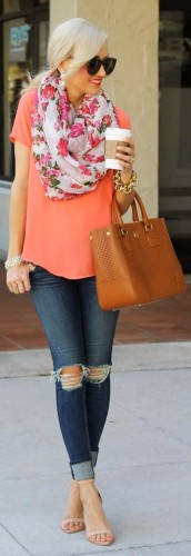 Image Source: Change the tee to a block colour and add a floral scarf for a feminine look
